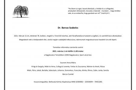 Dr. Barcza Szabolcs emlékére